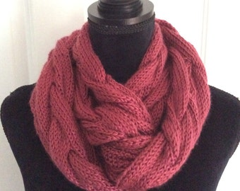 Hand knit cable rose bud  infinity scarf, ready to ship