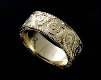 Antique Style Men's Ring, Hand Engraved Men's Wedding Ring, Vintage Style Ring, 8mm Men's Ring, Engraved 14k Yellow Gold Wedding Ring
