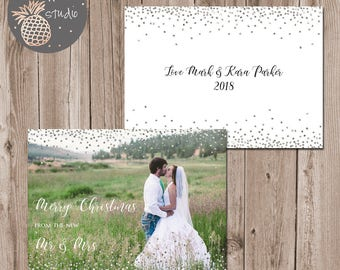 Confetti Mr & Mrs Christmas Card, Holiday Photo Card, Newlywed Christmas Card