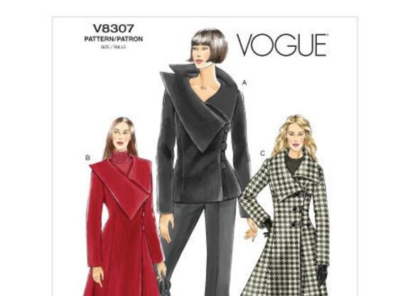 Vogue V8307 Misses große asymmetrische asymmetrischen Kragen Mantel ...