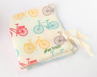 Organic Cotton Napkin - 6 Fabric Choices-Napkin with tie-Kids Napkin-Travel Napkin-Octopus, Penguins, Alligators, Mice,