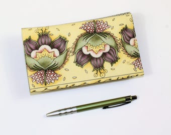 Yellow Floral Checkbook Cover for Duplicate Checks with Pen Holder,  Purple Green and Yellow Cotton Fabric Check Book, Cheque Book