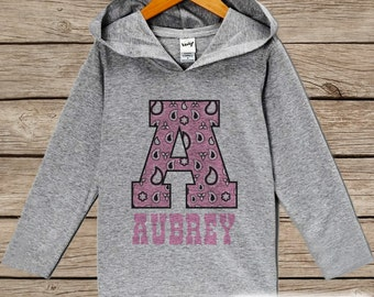 Kids Hoodie - Initial Cowgirl Pullover - Western Outfit - Girls Grey Toddler Hoodie - Kids Hoodie - Personalized Top - Novelty Girls Cowgirl