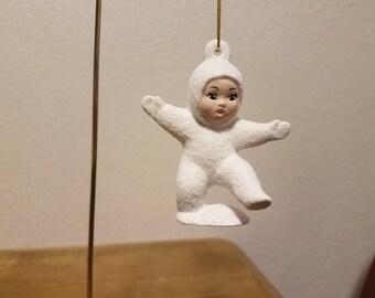 Ceramic Medium Snowbaby with right leg up Ornament(#1009)