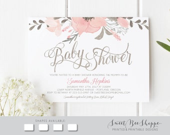 Floral Baby Shower Invitation: Girl Baby Shower Invite, Baby Girl Shower  Invitation; Boho, Flowers, Pink, Peach, Printable DIY Invitation