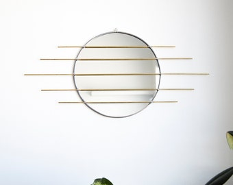 Circle Mirror with Brass Detail