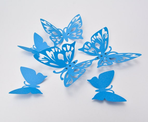 Blue Butterfly Wall Art 3D Butterfly Wall Decor Paper