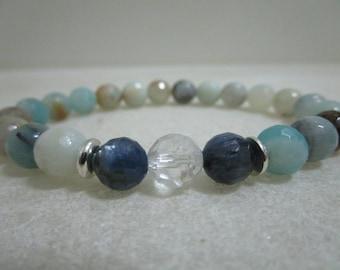 Genuine AAA grade Cyanite Bracelet from Amazonite Cyanite and Rock crystal Bracelets for women Natural stone bracelets Gift for woman