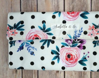 Diaper Clutch- The Dottie, Diaper Clutch with Changing Pad, Diaper Holder, Diaper Clutch Pockets, Flora, Polka Dots, Vintage, Baby Girl