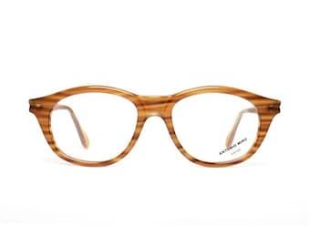 honey brown vintage glasses - striped brown eyeglasses for women - original 80s frames by Antonio Miro - miel