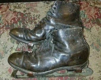 Vintage Ice Skates Brown holiday decor