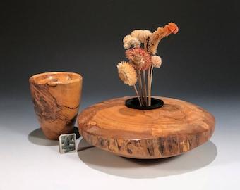 Spalted Maple G+ Set: Hand Turned Wood Ikebana Vase & Wood Bowl
