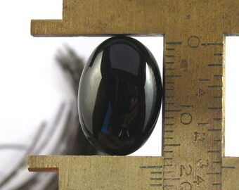 Pair of Black Agate Natural Gemstones Oval Shaped Cabochons - 18X13mm
