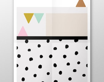 Alone in my thoughts  //  Love your walls by Fossdesign //  Instant Download Poster A3 // triangle mid-century