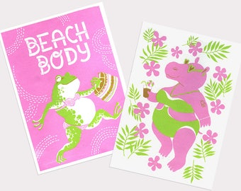 Beach Body Mini-Two posters A4 image- Hippo and frog in swimming suits - Every body is a beach body positivity- Pink and Green Silkscreen