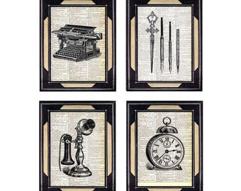 VINTAGE OFFICE art prints wall decor Typewriter Clock Stick Phone Candlestick Telephone illustration on upcycled vintage dictionary 8x10,5x7