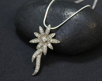 Sterling Silver CZ Flower Necklace, Sterling Flower Necklace, Gemstone Flower, Sterling Silver CZ Necklace, Spring Fashion, Spring Jewelry