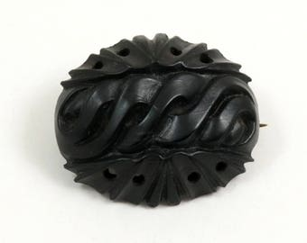Antique Victorian Mourning Brooch, Carved Pressed Horn, 1880