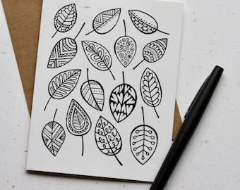 Leaf Doodle Notecards (Set of 4)