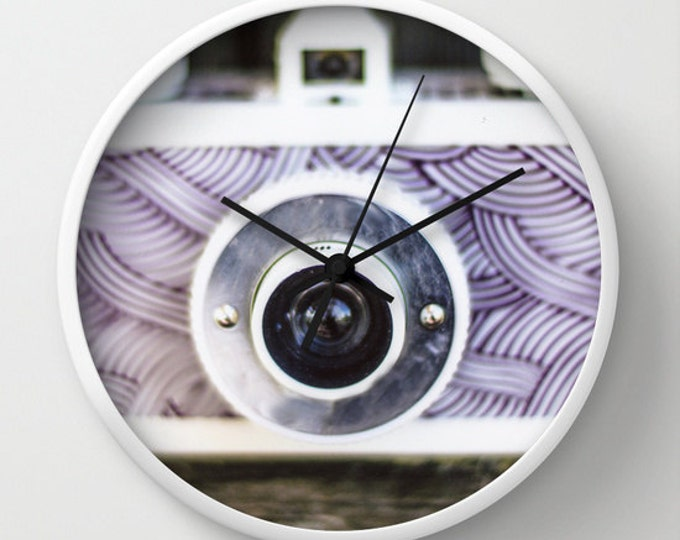 Camera Wall Clock - Purple Camera  Photo Clock - A Picture of a Camera is the Face of this Clock - Made to Order