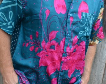 Men's Handmade Sari Silk Button Down, Short or Long Sleeve Dress Shirt - Teal Pink Floral - Large or XL - Niihau I943