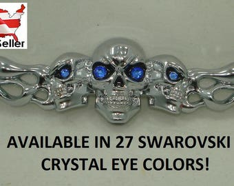 Skulls and Flames 3D Car Decal Sticker skull Motorcycle tank fender w genuine Swarovski crystals in Eyes 27 Colors Avail. Biker Rocker Goth
