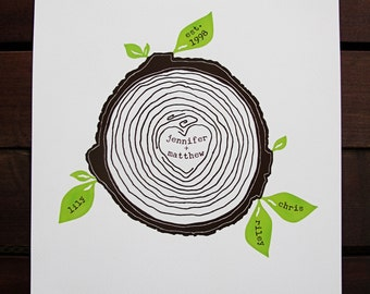 custom family tree, family tree wall art, personalized print, gifts for couples, family tree stump, personalized wedding gift, gift for her