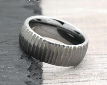 Unique Wedding Band Mens, Unique Mens Ring, Free Laser Engraving Include Mens, Promise Ring for Him, Tree Bark Carved Textured Wedding Ring