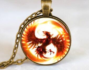 Phoenix Pendant, Phoenix Necklace, Pheonix Jewelry, Phoenix Charm Bronze (PD0127)