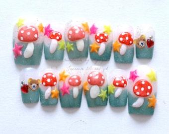 Christmas nails, videogame theme, kawaii nail, 3D nail, toadstool, mushroom, neon, bear, geeky girl, gamer girl,  Japanese nail, kitsch