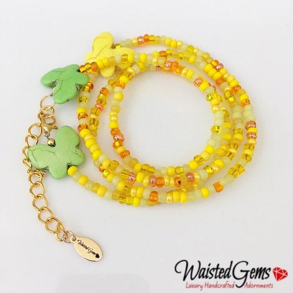 Sunny Days Waist Beads, Yellow Waist Beads, WaistBeads, Waist Chain, Belly Chain, Yellow Bikini, Gifts for Her, Sale