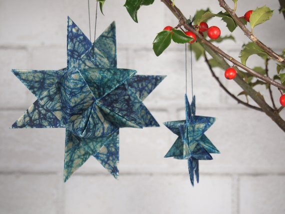 Blue and Turquoise Batik Hygge Danish Star