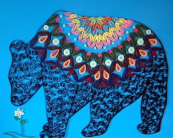 Handmade Quilled Paper Black Bear Art
