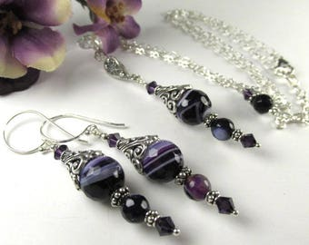 Purple Agate Gemstone Adjustable Necklace and Earring Set on All Sterling Silver