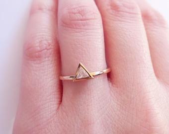 0.20 carat Trillion Diamond Solitaire Ring - Triangle Diamond Engagement Ring ~ Simple Trillion Diamond Ring