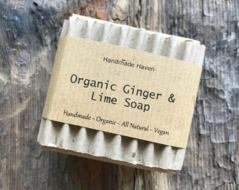 Organic Soap - Ginger & Lime - Vegan - Poppy Seeds - Scented - Exfoliating