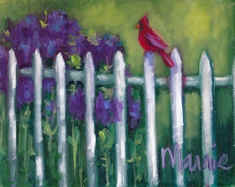 On the fence, painting, country art, oil painting, ready to hang, original art,