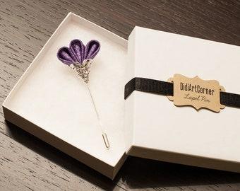 Sparkly Glitz Silver Purple Freesia on Silver Plated Lapel Stick Pin
