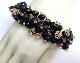 Black Pearl Bracelet, Black Cluster Bracelet, Black Bead Bracelet, Wedding Jewelry, Bridesmaid Gift, Black Wedding Theme, Beaded Jewelry