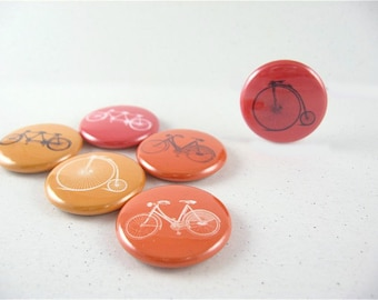 Six Bicycles Built for One or Two - Fridge magnets home & living, kitchen, organization red, orange, yellow 1119