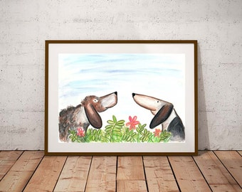 Giclee print, Dog PRINT, watercolour print, dog illustration, art print, dog lover gift, dog painting, dog wall art