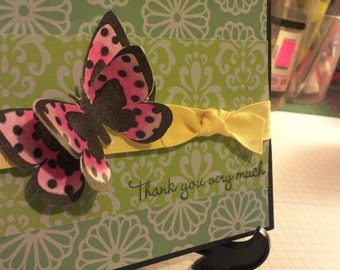 3D butterfly Thank You Very Much greeting card