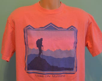 80s T-Shirt Cooke City Montana Hiking Outdoor Appreciation Nature Lover Trail Walker XL Coral Tee