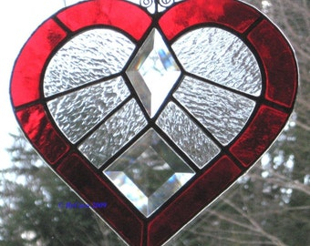 Light of My Life Stained Glass Bevel Heart Sun Catcher in the Red of Passion
