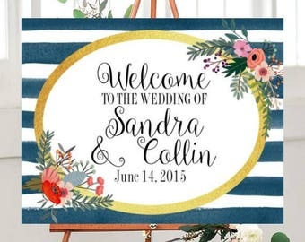 Printable Wedding Sign, Welcome to Our Wedding Sign, Custom sign, Wedding Printables, Watercolor Sign,Navy Blue and Gold,