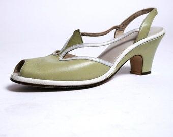 1940s Peep Toe Pumps Leather Slingbacks New Grass Green 8N// 96