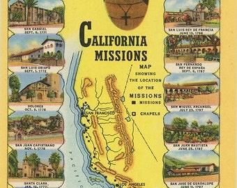 California Franciscan Missions Map Fray Junipero Serra Vintage Postcard (unused)