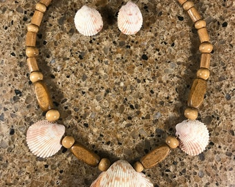 """7 Off white wooden bead & shell necklace 19"""" - post shell earrings"""