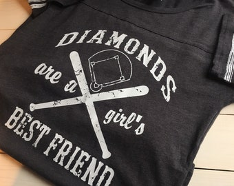 Baseball Mom Shirt | Diamonds are a Girl's Best Friend | Baseball Mom Shirt | Softball Shirt | Screenprint