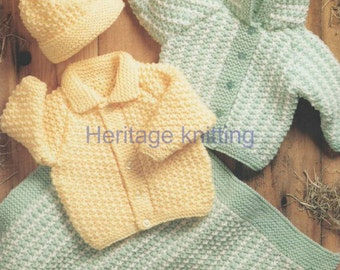 baby childrens jackets hat and blanket chunky knitting pattern 99p pdf